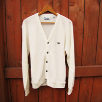 vintage 1980s Lacoste Izod ivory button down cardigan.  oversized sweater. unisex.  union made. Made in the USA