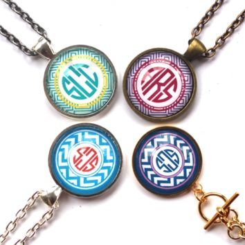 Glass Monogram Pendant Necklace {Reg. $56}