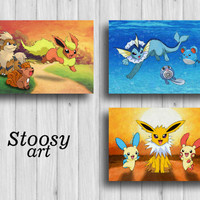 eevee evolution pokemon go print set of 3 pokemon painting pokemon room decor pokemon gifts