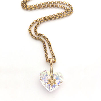Clear Crystal Heart Necklace, Gold Chain Star Necklace, Gift for Girlfriend