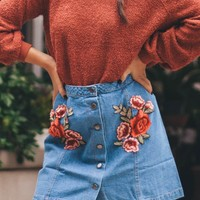 By Your Side Denim Rose Applique Skirt