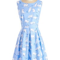 50s Mid-length Sleeveless Fit & Flare Chalk of the Town Dress in Kittens