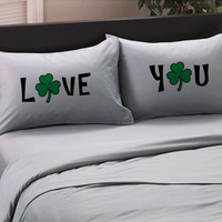 """St Patricks Day Lucky """"Love You"""" Pillowcases - Shamrock Funny Bedroom St Patrick's Day Pillow Cases for him for her, Irish"""