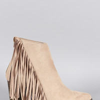 Qupid Suede Fringe Pointy Toe Ankle Bootie