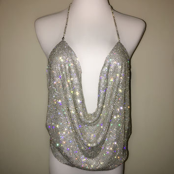 'Posh' Crystal Mesh Top