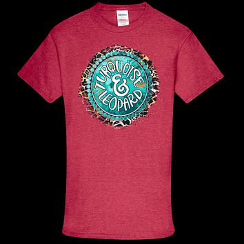 Southern Couture Soft Collection Turquoise & Leopard T-Shirt