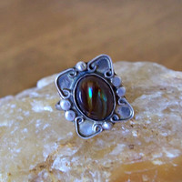 Vintage Fire Agate Ring Sterling Taxco Mexico Signed ESM Size 6.5