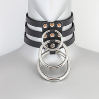 Black Leather 3 Strap Choker Necklace w/ 3 Silver O Rings