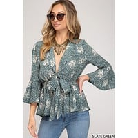 3/4 Bell Sleeve Printed Peplum Top with Front Tie - Slate Green