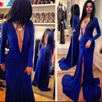 Sexy Women Prom Party Cocktail Evening Gown Wedding V Neck Slit Blue Maxi Dress