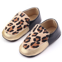 Leopard Print Toddler Baby Kids Girl Shoes Faux Leather Slip On Crib Shoes Prewalker 0-12M NW