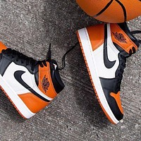 Nike Air Jordan Contrast Orange&white Yin and Yang Sports High Tops shoes