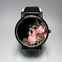 Floral Watch, Women Watches, Pink Rose, Leather Bracelet, Print, Jewelry, Modern, Gift, Simple, Silicone, Flower, Choose bands, Freeforme