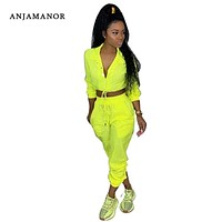 ANJAMANOR Neon Yellow Fashion Tracksuit Women Two Piece Set Top and Pants Matching Sets Pink Outfit Spring Sweat Suits D64-AF27