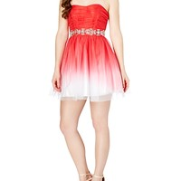 Jeweled Ombre Tulle Mini Prom Dress