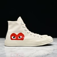 CDG PLAY x CONVERSE CHUCK TAYLOR ALL STAR '70 HI - WHITE - Best Deal Online