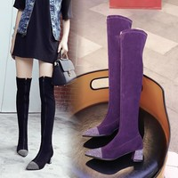 Women Fashion Rhinestone Patchwork Over The Knee/Ankle Boots