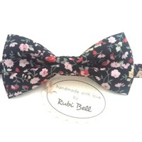 Bow Tie - floral bow tie - wedding bow tie - black bow tie with pink flowers - grooms bow tie