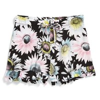Girl's Flowers by Zoe 'Daisy' Floral Print Ruffle Shorts,
