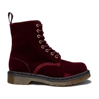 Dr. Martens Page Velvet Boot in Maroon