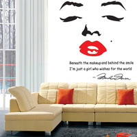 Home Decoration Portrait of Marilyn Monroe DIY Wall Sticke Wallpaper Stickers Art Decor Mural Room Decal Adesivo De Parede H11582 Home & Outdoor = 1651279236