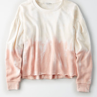 AEO Boxy Pleat-Sleeve Sweatshirt, Pink