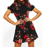 Vintage Women Casual Dresses New Fashion Summer Mini Dresses Chinese Style Floral Printed Short Sleeve Party Retro Sundress