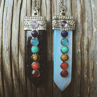 Necklace - Synthetic Opal Colourful Gemstone Jewelery