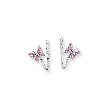14k White Gold Real Diamond & Pink Sapphire Butterfly Earrings