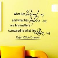 Wall Decals Quotes Ralph Waldo Emerson What Lies Behind Us Decal Lettering Stickers Home Decor Art Mural Z789