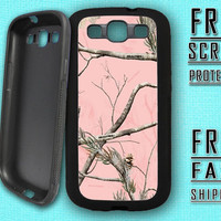 Galaxy s3 Case Samsung s3 Camo Case Realtree Design Cover Durable Rubber Borders with Metal Plate