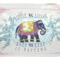"""Festival Elephant Art Design """" Little By Little Step By Step It Happens"""" Oil Cloth Large Make-up or Accessory Travel Bag"""