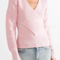 TOME - Wrap-effect cutout ribbed merino wool sweater
