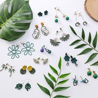 AOMU Summer Green Forest Series Acrylic Flower Dripping Oil Cactus Crystal Pearl Metal Ball Long Tassel Earing for Women Girl