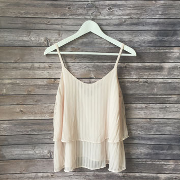 Cross Back Pleated Tank (Dusty Pink)