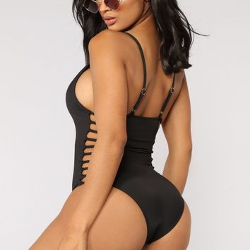 Snake Bite Cut Out Swimsuit - Black