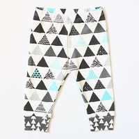 Blue Trendy Triangles Leggings or Shorts