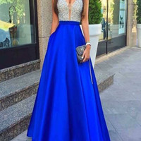 Royal Blue Sparkly Beading Long Prom Dress