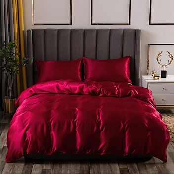 Luxury Satin Bed Sheets Imitation Silk Bedding Set Soft Duvet Cover Queen King Linens Pillowcases f