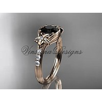 Unique rose diamond engagement ring, Enhanced Black Diamond ADLR333