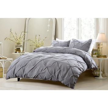 Pinch Pleat Design Gray Bedding Set-Includes Comforter and Duvet Cover