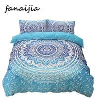Bohemia bedding sets 3d boho Mandala blue printing duvet cover set bedsheet Pillowcase king size Cotton Bedlinen