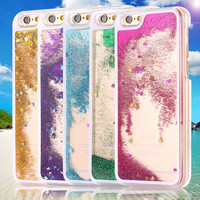 I6 Transparent Liquid Quicksand Bling Glitter Star Luxury Case for iphone 6 4.7 Inch Hard Back Cover Cute Funny for Iphone6