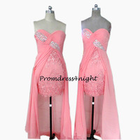 New Arrival Strapless Applique Bodice Pink Chiffon High Low Prom Dress/ Formal Evening Dress/ Formal Gown / Party Dress