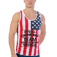 Official drinking team of America Usa Flag shirt Men's Jersy Tanktop