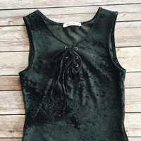 Phoebe Lace Up Velvet Tank (Charcoal)
