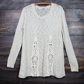 Knitted Boho Sweater in Ivory