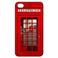 London Telephone Booth Hard Back Shell Case Cover Skin for Iphone 4 4g 4s Cases Vintage British Phone Box - Black/white/clear