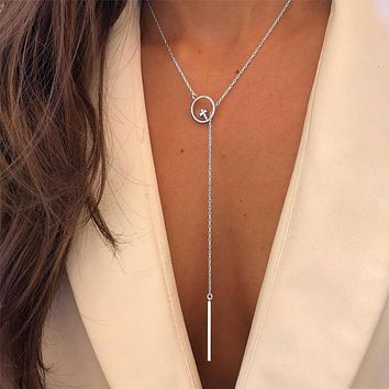Silver Color Crystal Cross Pendant Necklace Long Tassel Chain Jewelry