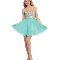 Mint & Nude Beaded Cut Out Sweetheart Dress 2015 Prom Dresses